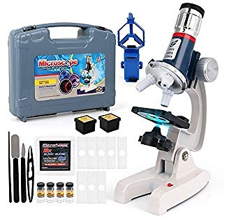 D-FantiX Microscope Kit for Kids 8-12, Student Beginner Microscope STEM Set with Metal Body, 100X 400X and 1200X Magnification, LED Light, Plastic Slides, Science Experiment Kit for Boys and Girls