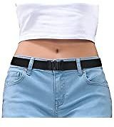 No Show Women Stretch Belt Invisible Elastic Web Strap Belt with Flat Buckle for Jeans Pants Dresses At Amazon Women's Clothing Store