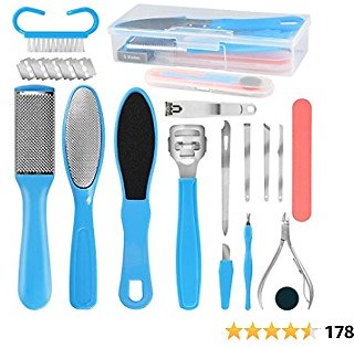 Pedicure Tools Kit Foot Care Pedicure Set 18 in 1 Professional Foot File Foot Rasp Callus Remover Nail File Stainless Steel Foot File (Blue)