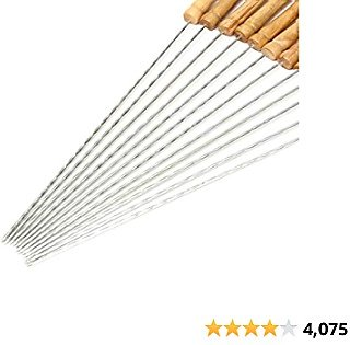 64% Off HAKSEN 12 PCS Barbecue Skewers with Wood Handle Marshmallow Roasting Sticks Meat Hot Dog Fork Best for BBQ Camping