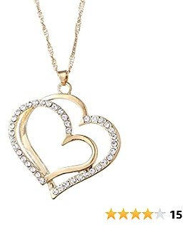 Beiswe Creative Crystal Heart Necklace Earring Set Romantic Wedding Jewelley Bride Bridesmaid Heart Jewelley Accessories,Gold Necklace