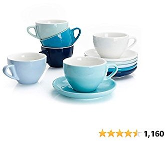 Sweese 403.003 Porcelain Cappuccino Cups with Saucers - 6 Ounce for Specialty Coffee Drinks, Latte, Cafe Mocha and Tea - Set of 6, Cool Assorted Colors