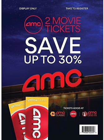 Up to 30% Off AMC - 2 Yellow Tickets