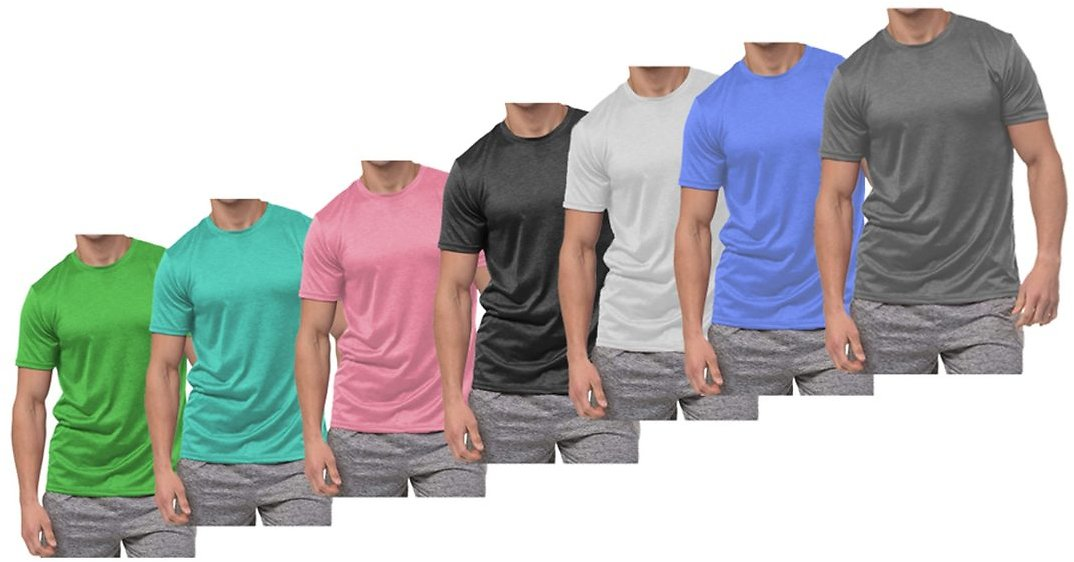 Men's Active Moisture Wicking Dry Fit Crew Neck Shirt (5-Pack)