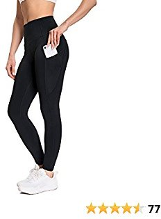 MUUBOOX Yoga Pants Leggings for Women with 3 Pockets,Tummy Control 4 Way Stretch Workout Pants with Pockets