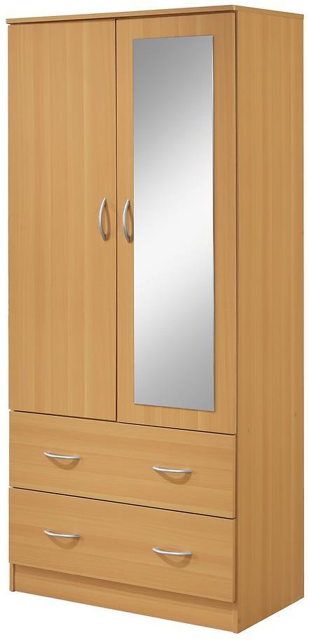 2-Door Armoire with 2-Drawers, Mirror and Clothing Rod