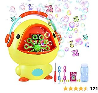 IYoYo Bubble Machine Duck Bubble Blower with Music Sounds, 10.6