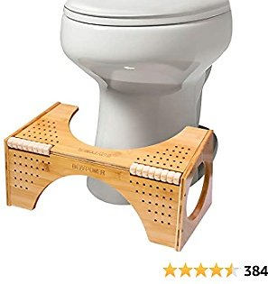 BQYPOWER Squatting Toilet Stool, Non-Slip Bamboo Toilet Potty Step Stool, 2-in-1 Portable Bathroom Squatting Urinal with Flip Adjustment for Adults Children (8