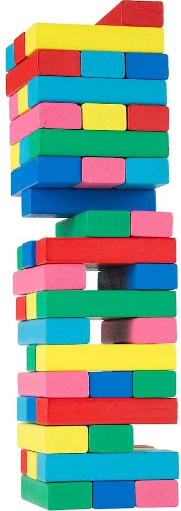 Classic Wooden Blocks Stacking Game with Colored Wood and Carrying Bag for Indoor and Outdoor Play By Hey! Play!