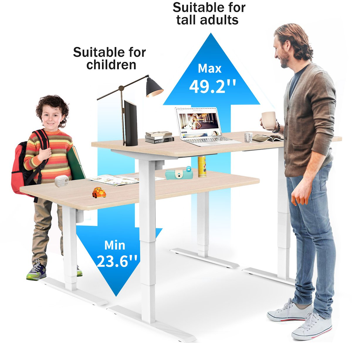 Save $115 for Standing Desk Adjustable Height Electric Computer Desk Home Office Desk 48 X 24 Inch Memory Controller White-Oak