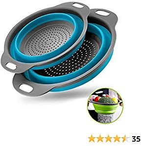 Collapsible Colanders with Handles with Extendable Handles Perfect for Draining Pasta Vegetable Fruit 2 PC (Blue)