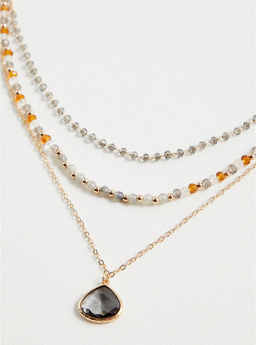 Gold-Tone Beaded & Faux Stone Layered Necklace