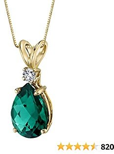 Peora 14K Gold Pendant for Women with Diamond, Elegant 10x7mm Teardrop Pear Shape Solitaire in Genuine and Created Gemstones