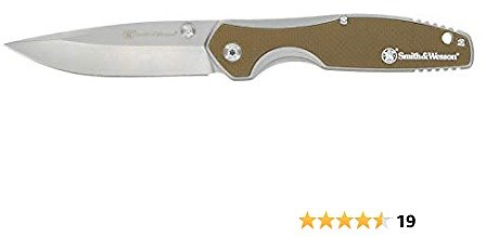 Smith & Wesson Cleft 7.75in S.S. Assisted Folding Knife with 3.5in Drop Point Blade and Stainless/G10 Handle for Outdoor, Tactical, Survival and EDC
