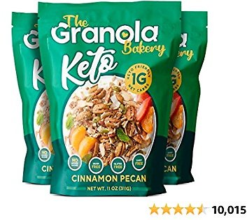 The Granola Bakery Keto Granola | Low Carb Keto Cereal | 1g Net Carb | Low Sugar, Keto Nut Granola | Small Batch, Hand Crafted | Cinnamon Pecan, 11 Ounces (Pack of 3)