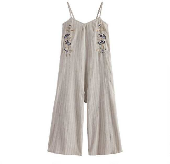 Dusty Blue And Oatmeal Stripe Embroidered Caila Jumpsuit