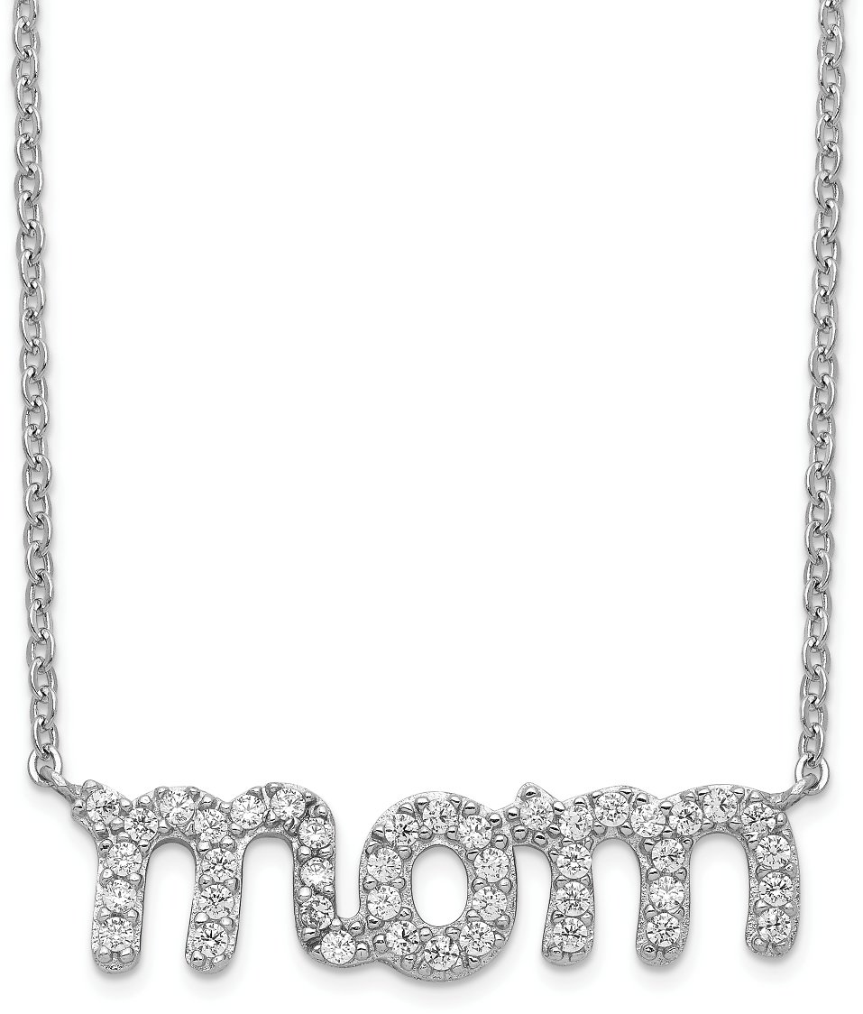 925 Sterling Silver Mom Cubic Zirconia Cz Chain Necklace