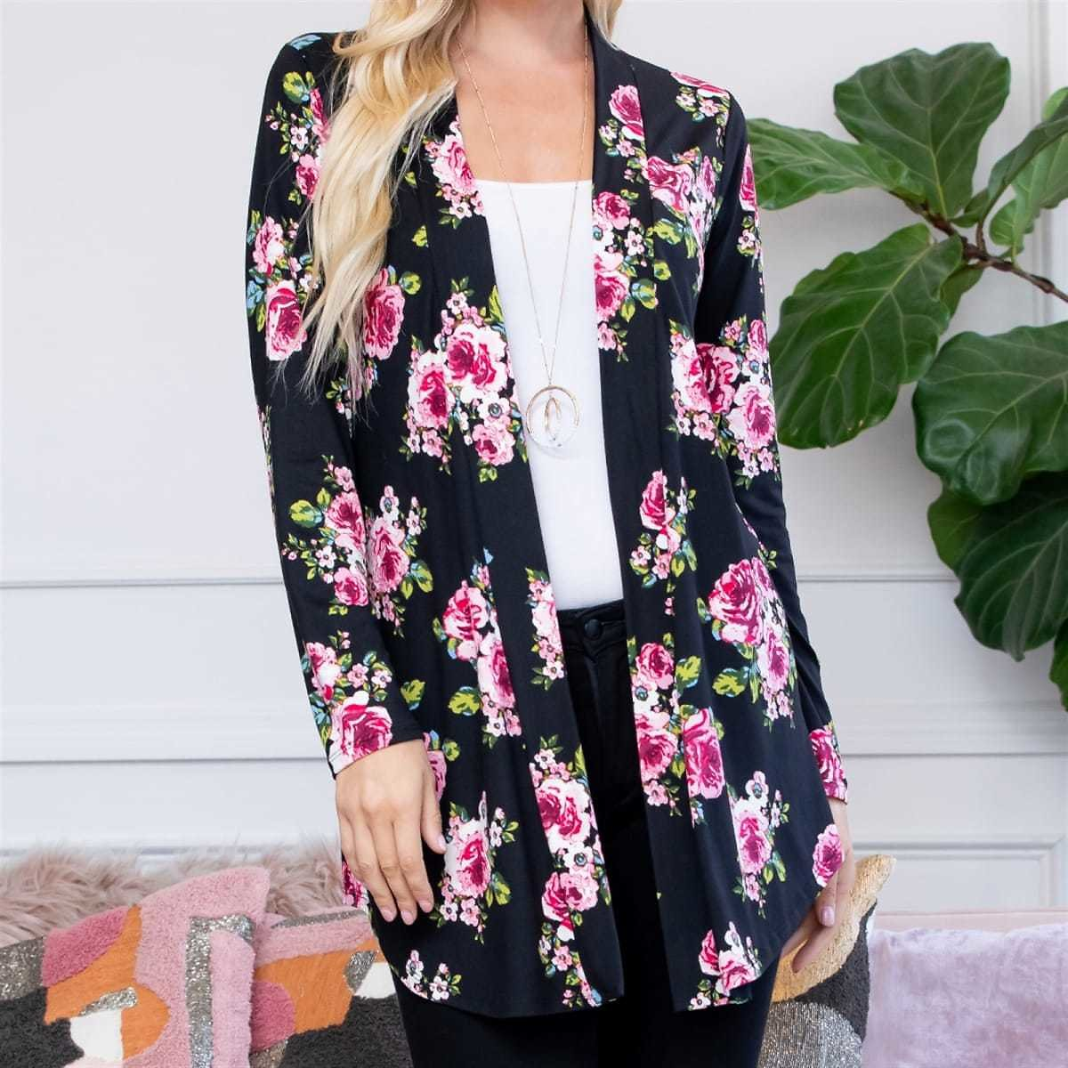 Print Open Front Cardigan (4 Colors) + F/S