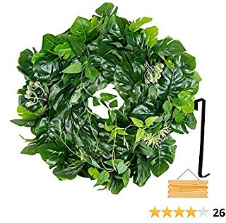 18 Inch Eucalyptus Wreath for Front Door Outside - Farmhouse Wreath with Hook and Wooden Sign - St Patricks Day Decorations