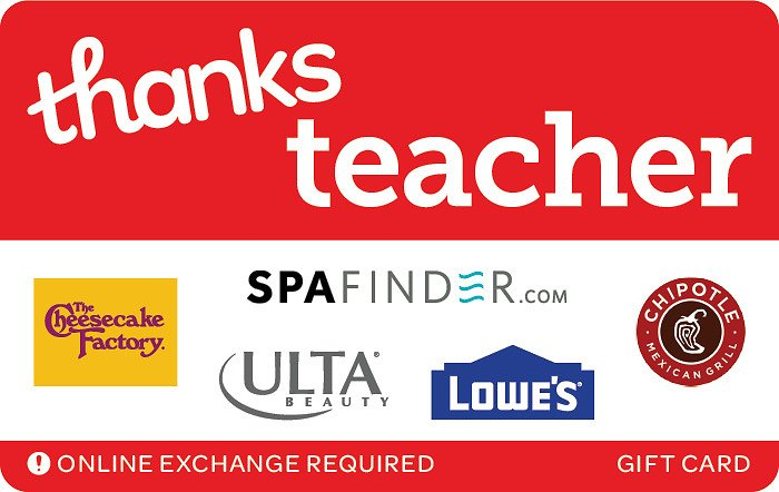 Free $7.50 Bonus W/p $50 Thanks Teacher EGift Card