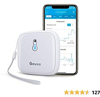 Govee Bluetooth Hygrometer Thermometer, Temp Humidity Gauge with App Alert and Free Data Export Storage, Up to 500 Days Battery Life, Mini Humidity Meter for Wine Cellar Greenhouse H5174