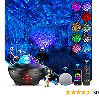 Star Night Light Projector-Skylight with WiFi Smart App, Alexa, Google Assistant, 4 in 1 Starry Light with Bluetooth Speaker | Remote, Moving Ocean Wave,16 Million Colors Galaxy Light for Kid Bedroom