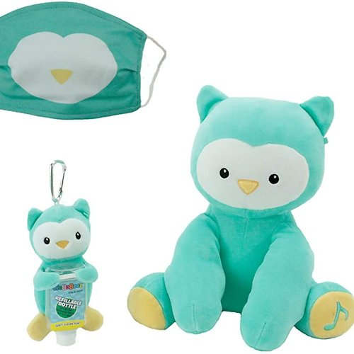 WelloBeez – Antimicrobial Plush, Musical Clean Crew – Plush with Hand-Washing Song + Keychain & Face Mask (Owl)