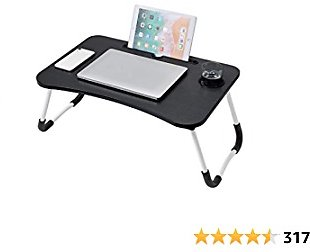 Lap Desk, Foldable Lap Desk Stand, Multifunction Lap Tablet with Cup Holder Perfect for Perfect for Watching Movie On Bed Or As Personal Dinning Table (Black)