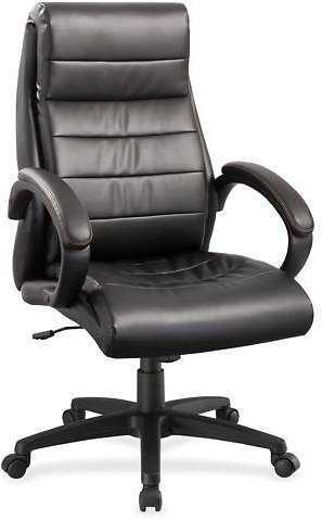 Lorell Leather Hi-Back Chair 27-3/4