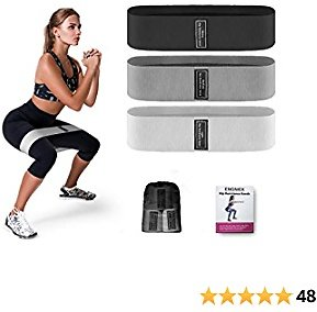 Resistance Bands for Legs and Butt - Exercise Bands Workout Bands-with Non Slip Fabric Workout Loop Bands 3 Levels Glutes Bands Elastic Strength Fitness Bands for Squat Hip Training, Set of 3