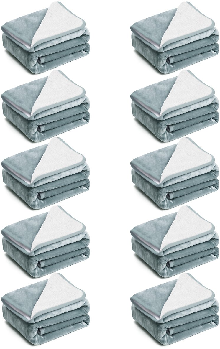 EIUE Multiple-Set Polyester Sherpa Fleece Bed Blanket,10 Packs Soft Nap Quilts Bedding Set,Travel Throw Size Warm Fluffy Unisex Kids Blanket for Home Decor.(Grey,60x80)