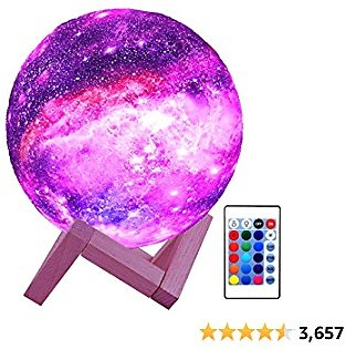 HYODREAM 3D Moon Lamp Kids Night Light Galaxy Lamp 16 Colors LED Light with Rechargeable Battery Touch & Remote Controls