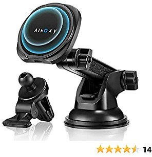 Alkoxy 15W Magnetic Wireless Car Charger Compatible with IPhone 12/12 Pro/12 Pro Max/12 Mini, Fast Wireless Car Charger Mount with Air Vent Clip and Dashboard Car Mount,WXC-001