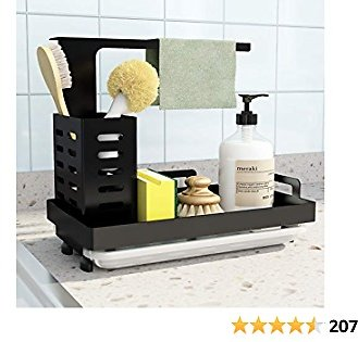 UPGRADED Sink Caddy Sponge Holder Brush Soap Dishcloth Holder with Drain Pan Stainless Steel Caddy Organizer for Kitchen, Freestanding or Wall-Mounted