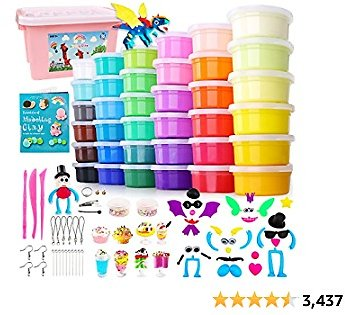 HOLICOLOR Air Dry Clay Kit, 36 Colors Magic Clay Modeling Clay for Kids with Accessories, Tools and Tutorials, Arts and Crafts Gift for Kids
