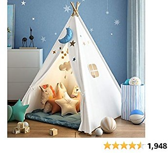 Wilwolfer Teepee Tent for Kids Foldable Children Play Tents for Girl and Boy with Carry Case Canvas Playhouse Toys