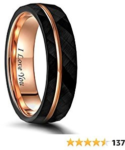 Frank S.Burton 6mm 8mm Black Tungsten Rings for Men Women Thin Rose Gold Groove Hammered Wedding Band Ring Comfort Fit Size 5-14