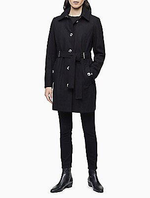 %75 OFF Wool Blend Belted Trench Coat | Calvin Klein