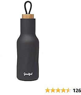 Goodful Water Bottle, Vacuum Insulated Thermos Tumbler with Leak Proof Lid, Double Walled Flask to Keeps Drinks Cold or Hot All Day Long, 18 Oz, Gray