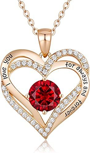 925 Sterling Silver Rose Gold Plated Birthstone Pendant Necklace