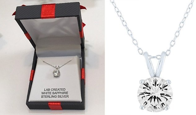 White Sapphire Sterling Silver Pendant Necklace