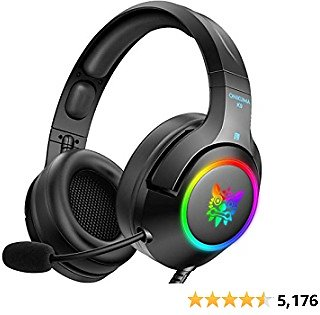 ONIKUMA Gaming Headset for PS4, PS5, PC, Xbox One (Adapter Not Included), Laptop, Noise Canceling Gaming Headphone with Microphone & Surround Sound, RGB LED Light