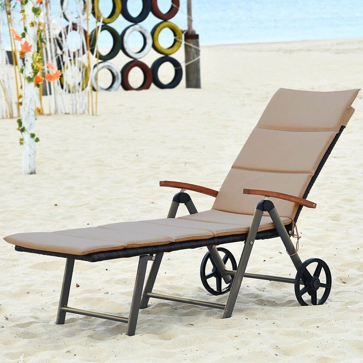 Costway Rattan Outdoor Chaise Lounge Chair