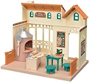 Calico Critters Village Pizzeria Dollhouse Playset, Collectible Dollhouse Toy with Furniture and Accessories Included: Toys & Games