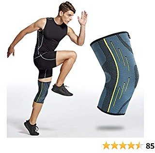 Alvada Knee Brace Compression Sleeve Support Wraps Anti-Slip Firm Grip - Prevent Injuries, Get Pain Relief, Improved Mobility - Ideal As Crossfit, Weightlifting, Powerlifting, Running Single