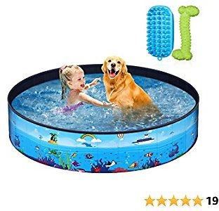 Foldable Dog Pool - Pet Pool with Pet Brush Chew Toy and Storage Bag