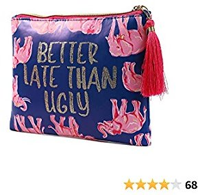 Cosmetic Bag for Women, WOOMADA Fashionable Roomy Makeup Bags (Clutch, Elephant-Dark Blue)