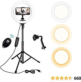 Endurax 10'' Selfie Ring Light with Tripod Stand 51'' and Phone Holder for IPhone, Dimmable LED Circle Light Ringlight for Video Recording/Streaming