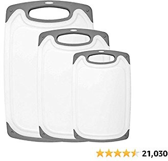 HOMWE Kitchen Cutting Board (3-Piece Set) - Juice Grooves with Easy-Grip Handles, Non-Porous, Dishwasher Safe - Multiple Sizes (Gray)