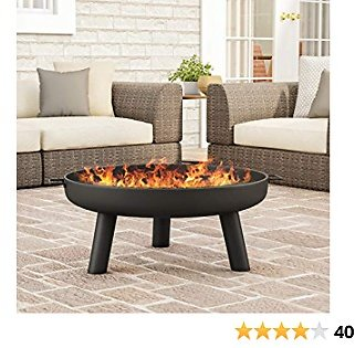 """Pure Garden 50-LG1200 Raised Steel Bowl for Above Ground Wood Burning 27.5"""" Outdoor Fire Pit, Black"""